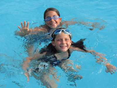 little girls swimming